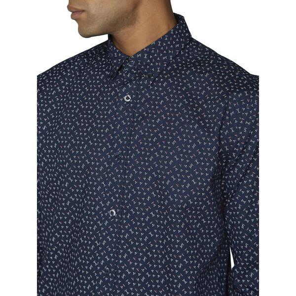 Ls Micro Geo Shirt Dark Navy, NAVY, hi-res