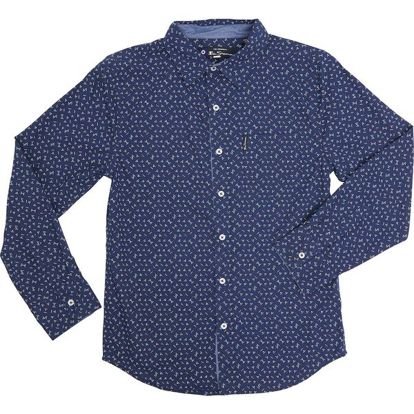 LS GEOMRETRIC SHIRT NAVY