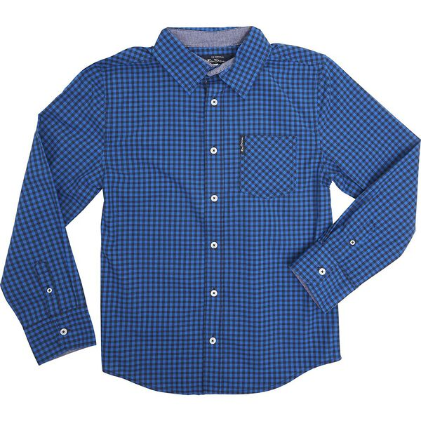 Ls Gingham Shirt Royal Blue