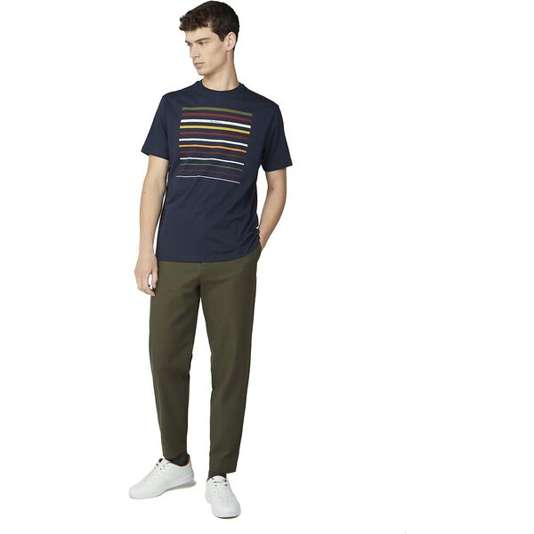 CROPPED STRIPE TEE, DARK NAVY, hi-res