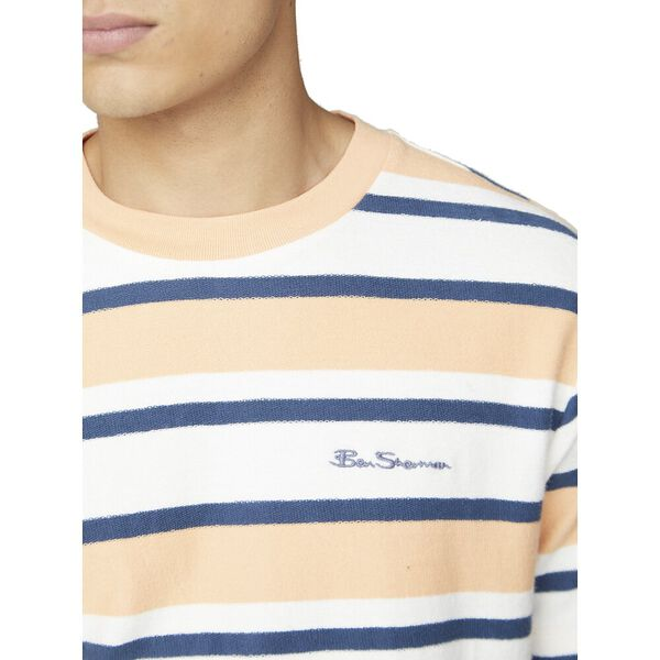 REVERSE LOOPBACK STRIPE TEE, PEACH, hi-res
