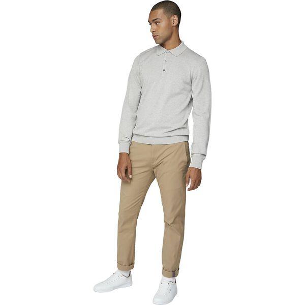 L/S Cotton Polo Grey, GREY, hi-res