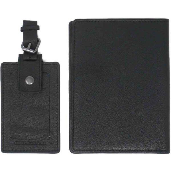 TRAVIS PASSPORT AND LUGGAGE TAG SET, BLACK, hi-res