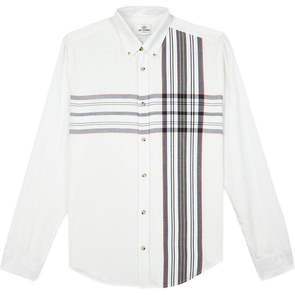 Ls Placed Stripe Off White, OFF WHITE, hi-res