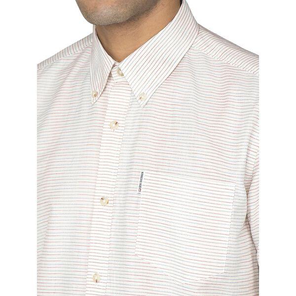 Ss Horizontal Stripe Shirt, SNOW WHITE, hi-res