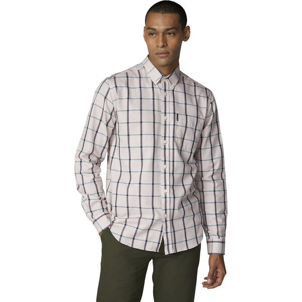 Ls Weave Effect Windowpane Shirt Red, RED, hi-res