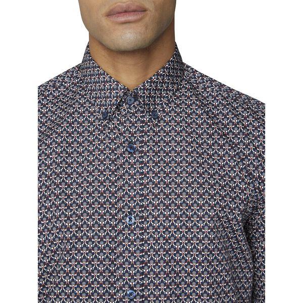2 Col Print Shirt, DARK NAVY, hi-res