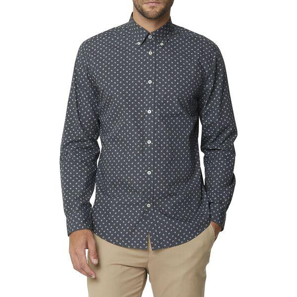 Multi Dot Print Ls Mod Shirt Charcoal