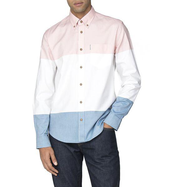 Colour Block Oxford Shirt, LIGHT PINK, hi-res