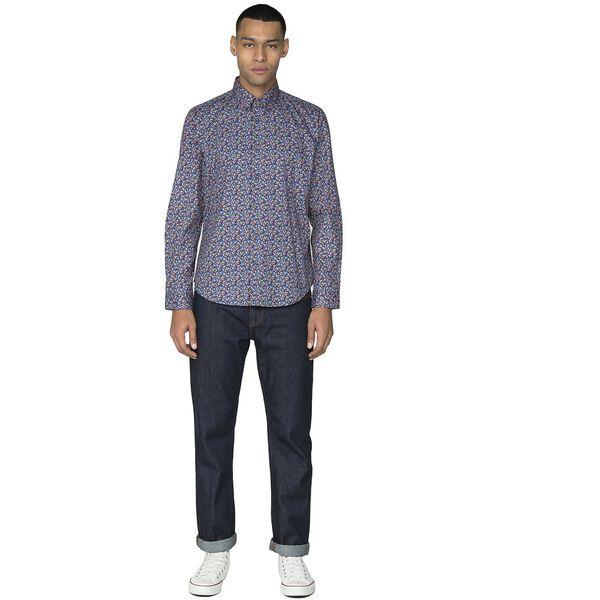 Micro Tropic Floral Shirt, DARK BLUE, hi-res