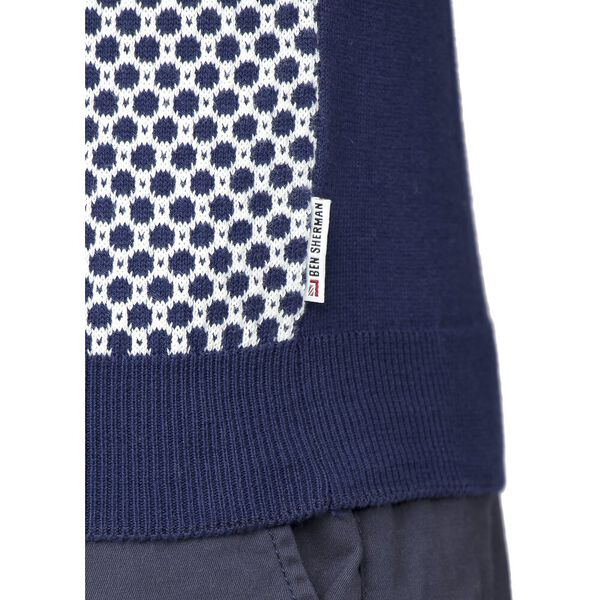 MICRO GEO KNIT POLO KNIT, NAVY, hi-res