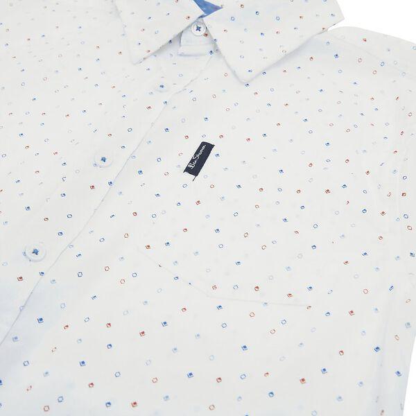 Kids Diamond Print Shirt, WHITE, hi-res