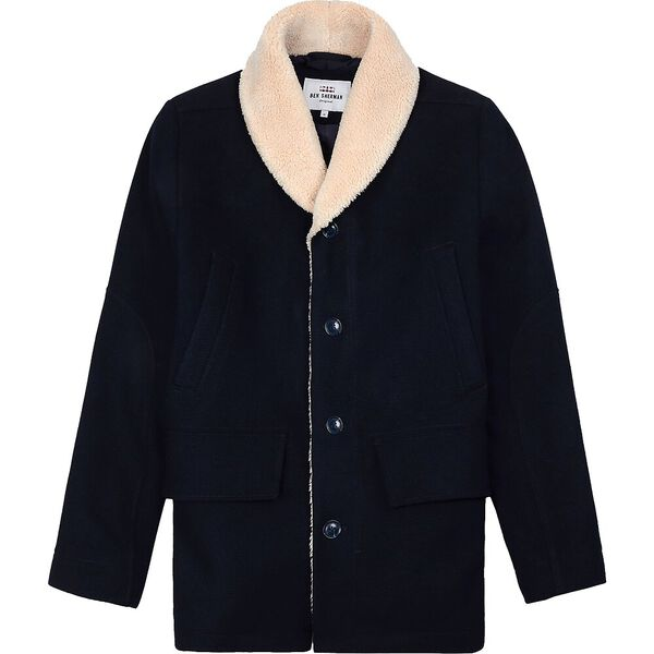 Heavyweight Shawl Collar Coat Midnight, MIDNIGHT, hi-res