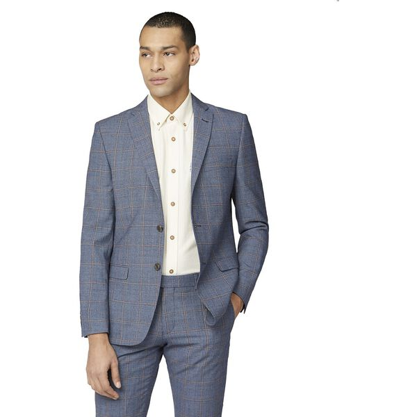 Blue Rust Windowpane Check Tail Jacket