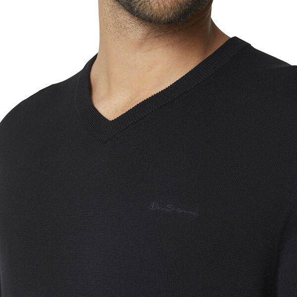 Script Basic Vee Knit Black, BLACK, hi-res