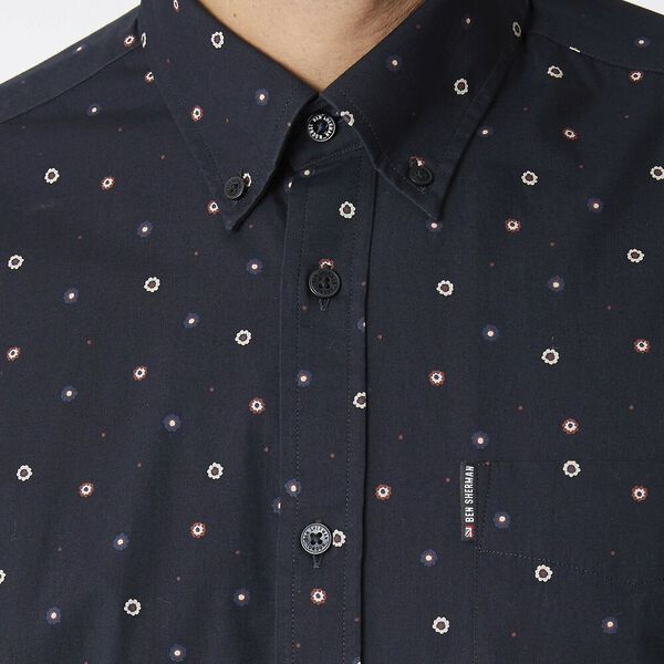 Ss Geo Floral Mod Shirt Anthracite, ANTHRACITE, hi-res