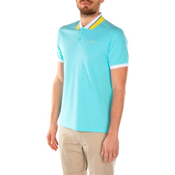 CONTRAST COLLAR POLO, TURQUOISE, hi-res