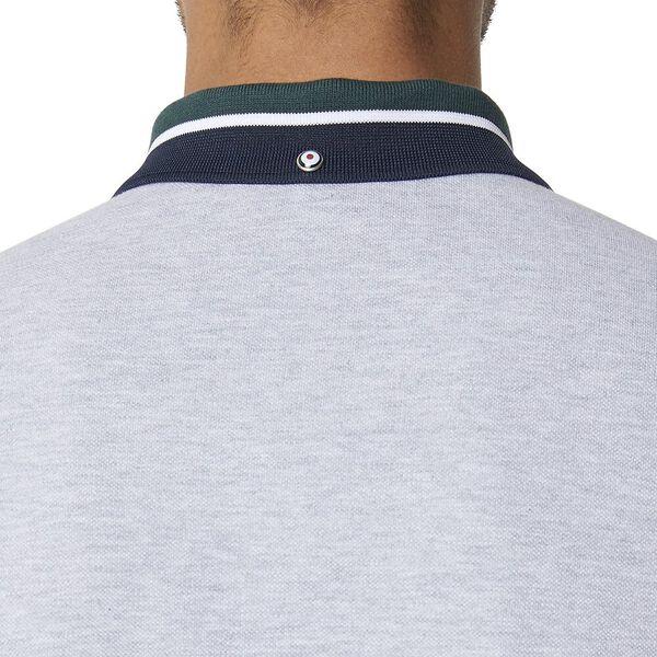 New Script Contrast Collar Polo Aluminiu, ALUMINIUM, hi-res