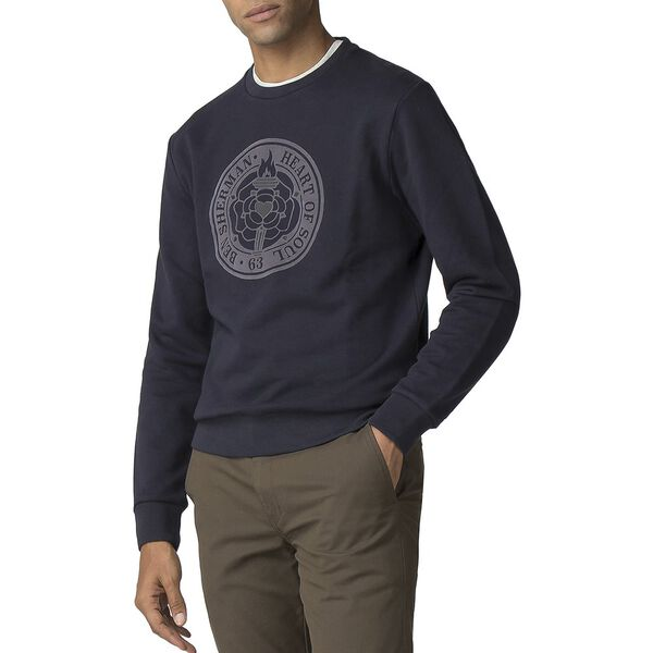 Flocked Rose Emblem Sweater, DARK NAVY, hi-res
