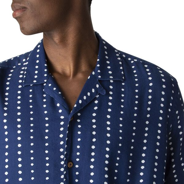 VISCOSE PRINT SHIRT, NAVY, hi-res