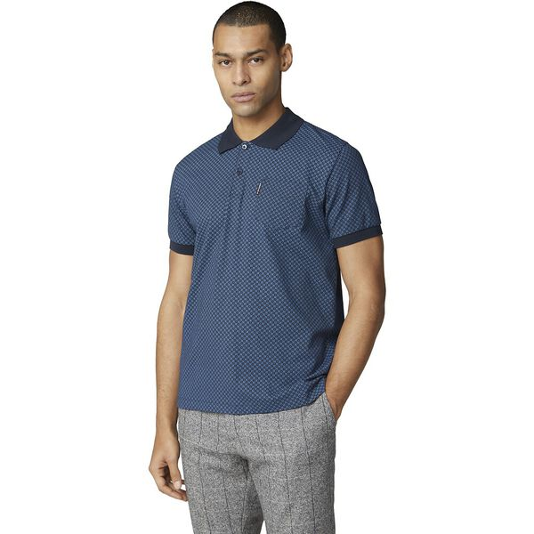 Micro Print Polo Midnight, MIDNIGHT, hi-res