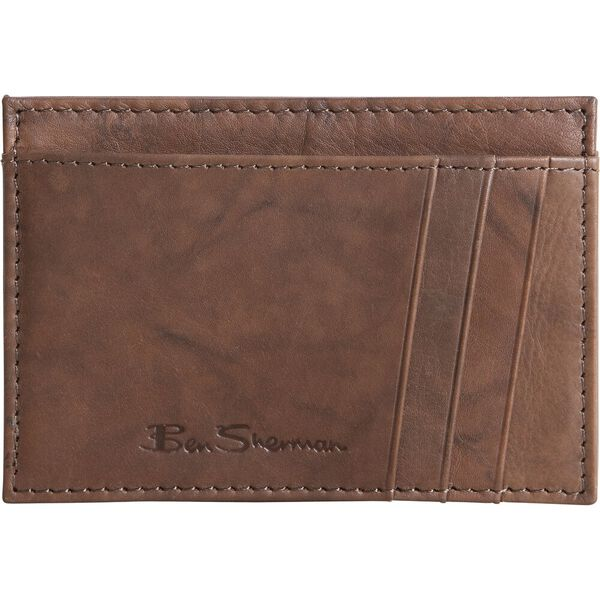 MARBLE CRUNCH LEATHER CARDHOLDER BROWN
