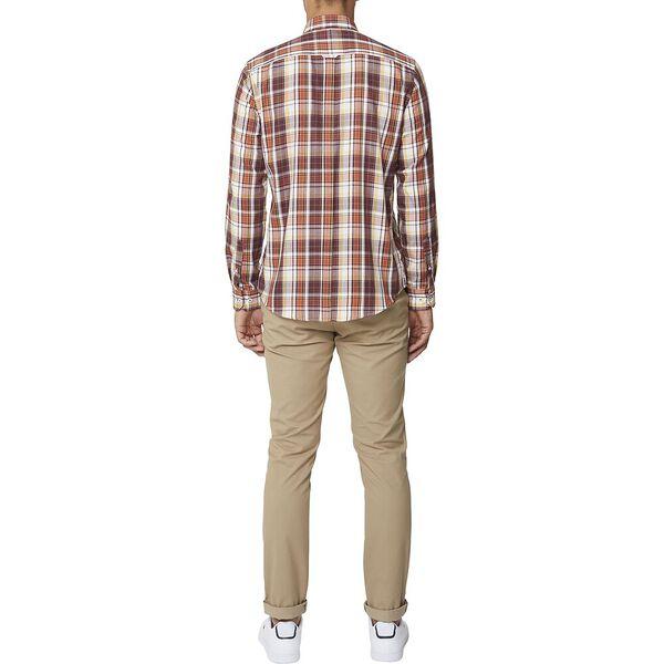 Multi Check Mod Ls Shirt Brown, BROWN, hi-res