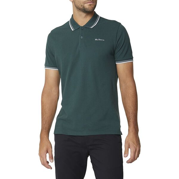 Basic Script Polo With Tipping Teal
