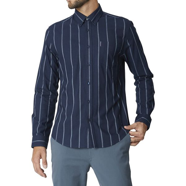 Ls Twin Stripe Oxford Dark Navy