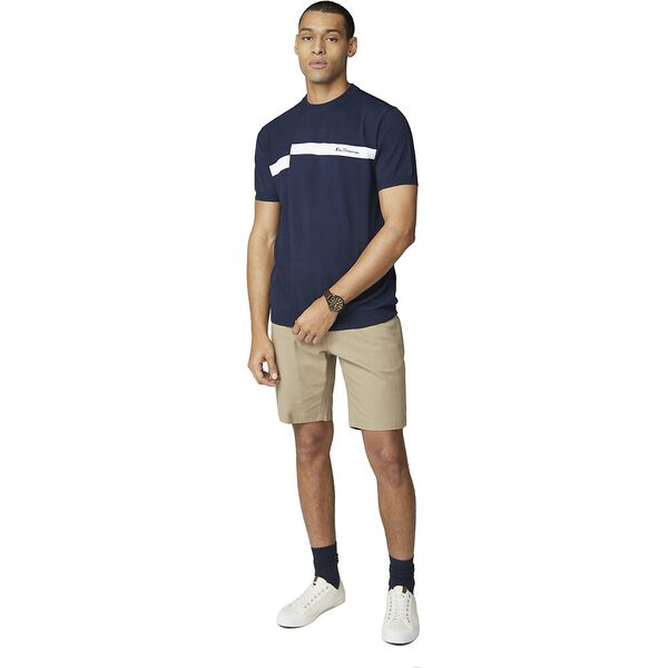 Offset Stripe Knit Tee, MIDNIGHT, hi-res
