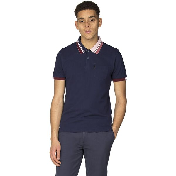 TIPPED INTEREST PIQUE POLO, NAVY, hi-res