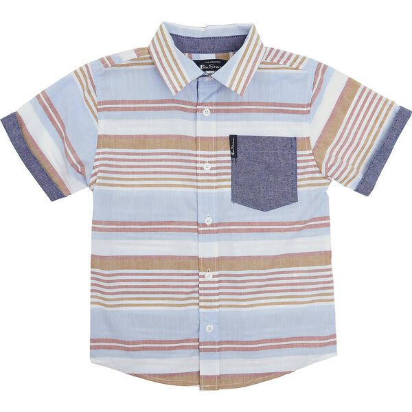 Kids 3 Piece Set With Tee, RED/BLUE/TAN, hi-res
