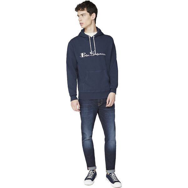 EMBROIDERED LOGO HOODIE, DARK NAVY, hi-res