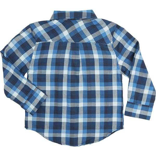 LS DOTTED CHECK SHIRT BLUE, BLUE, hi-res