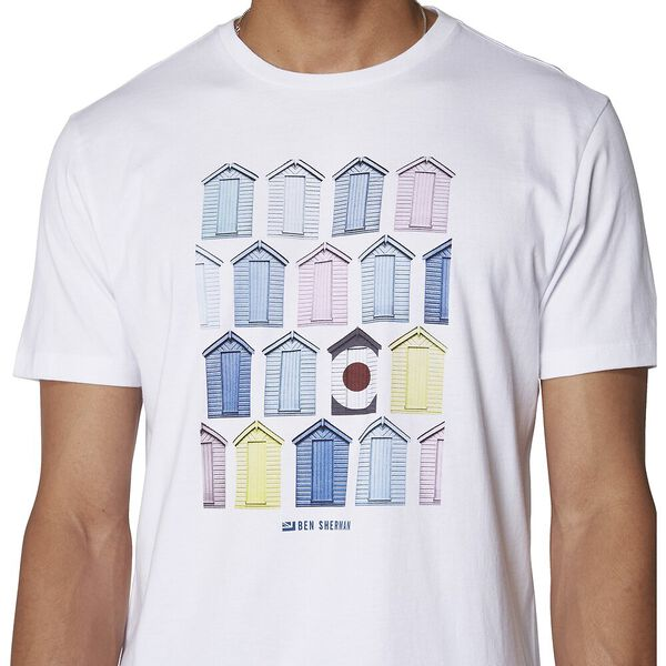BEACH HUT T-SHIRT, WHITE, hi-res