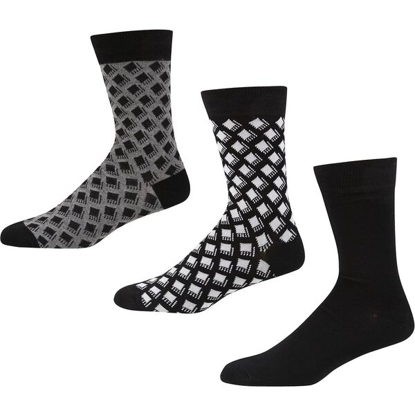 PRONTO 3PK SOCKS BLACK/GREY MARL/ECRU