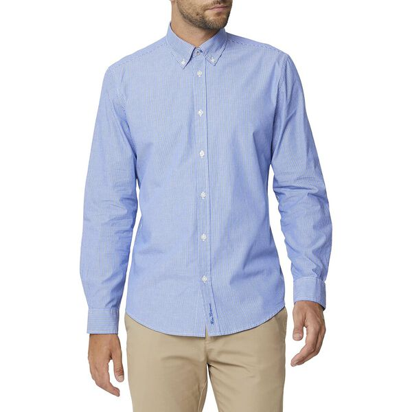 SIMPLE STRIPE MOD SHIRT, BRIGHT BLUE, hi-res