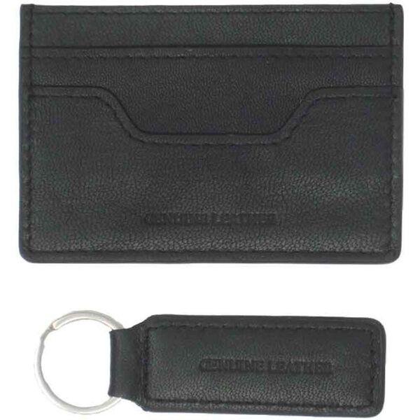Travis Leather Cardholder & Keyring Set, BLACK, hi-res