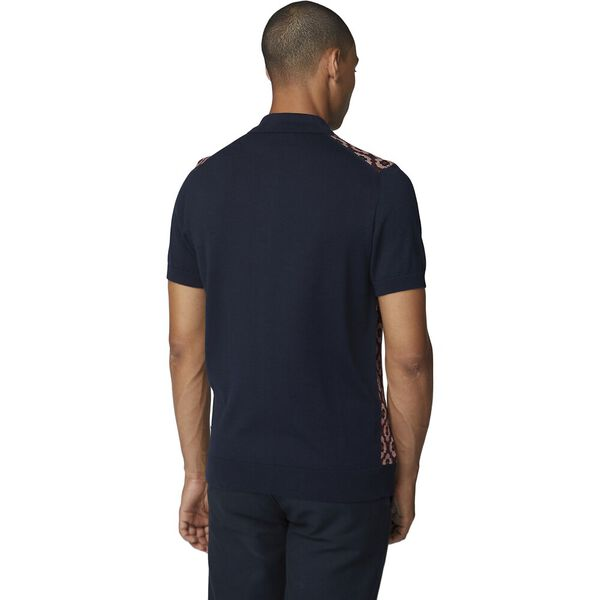 PATTERN FRONT POLO DARK NAVY, DARK NAVY, hi-res