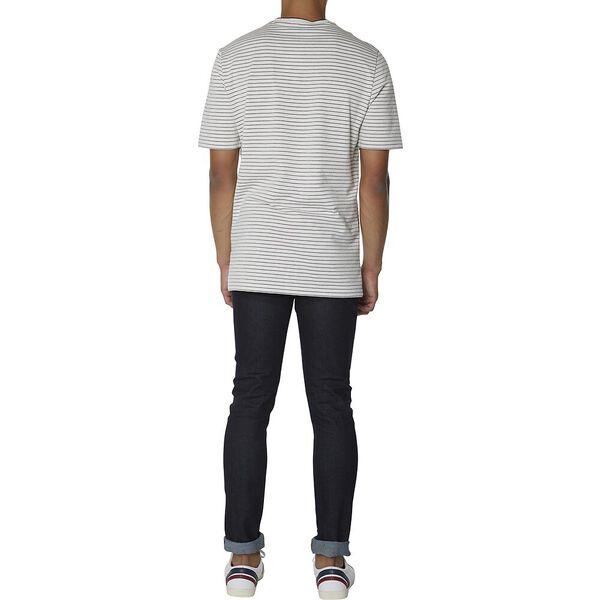 Tonal Stripe Jersey Longline T-Shirt, WHITE, hi-res