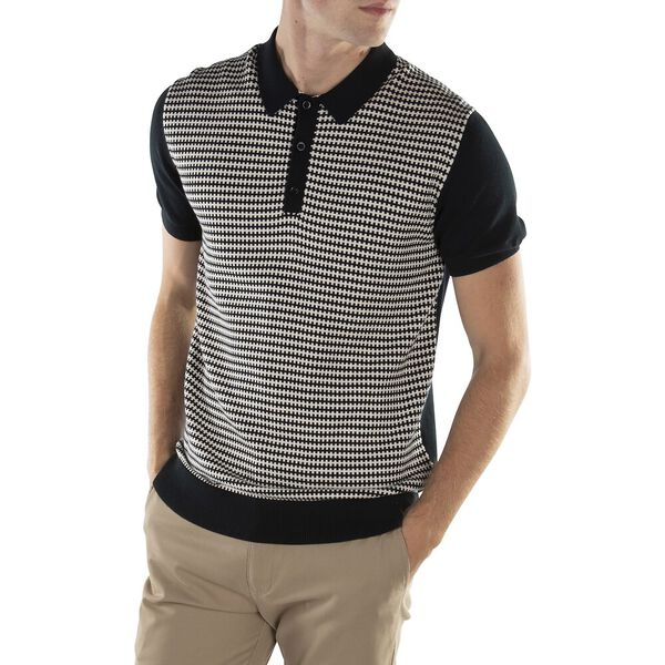 KNITTED GEO POLO BLACK