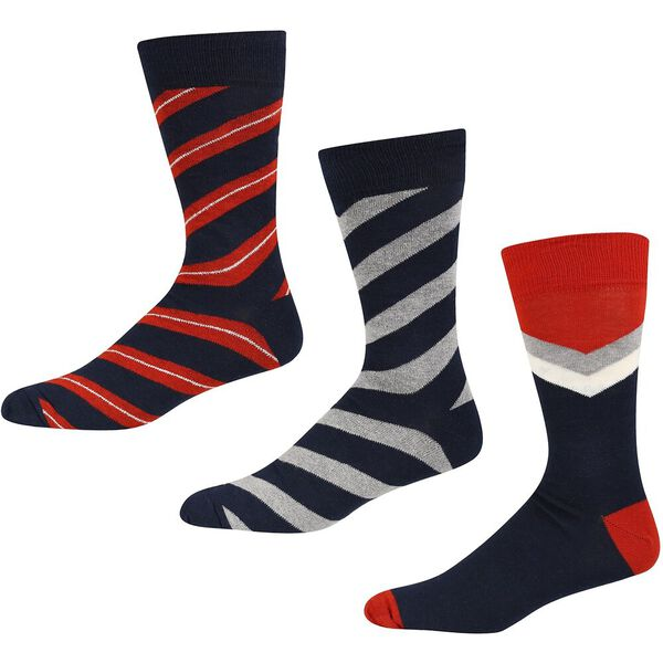 TIFFIN 3PK SOCKS NAVY/GREY/RED