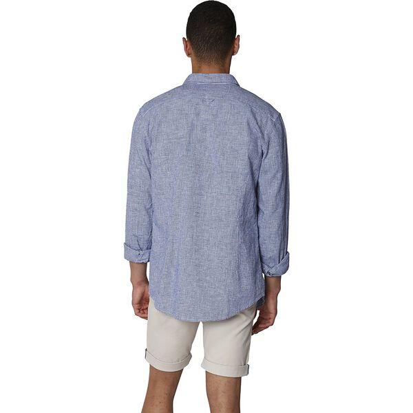 LINEN BLEND HOUNDSTOOTH SHIRT, BRIGHT BLUE, hi-res