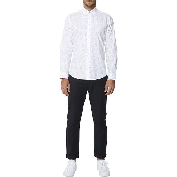 Ls Mod Checker Print Shirt White, WHITE, hi-res
