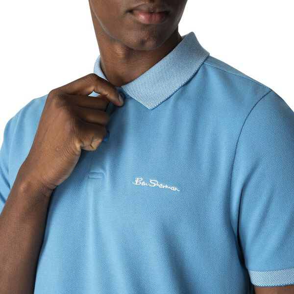 BIRDSEYE COLLAR POLO, DEEP SKY, hi-res
