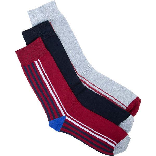 COOL DAWN 3PK SOCKS, RED/NAVY/GREY, hi-res