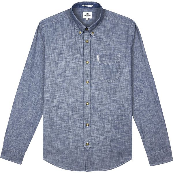 CHAMBRAY SHIRT, DARK NAVY, hi-res