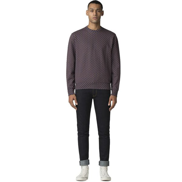 Geo Printed Sweater, BLUE, hi-res
