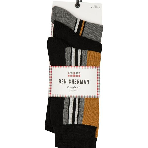 Grundy 3Pk Socks Grey/Black/Gold