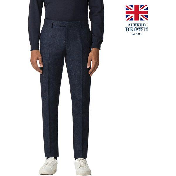 BRITISH BLACKENED BLUE DONEGAL TROUSER, BLUE, hi-res